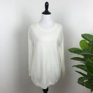 J. Crew ivory merino wool mesh sleeve sweater